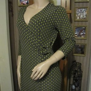 Chapter One Green & Black Wrap Look Dress size M